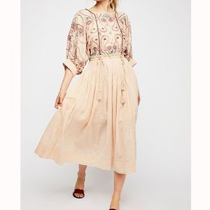 Free People Mesa Embroidered Cut-Out Midi Dress